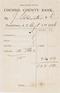 Western Expansion:Cowboy, J. Goldwater & Company Deposit Slip with the Cochise CountyBank at Tombstone, Arizona Territory, dated August 24, 1886....