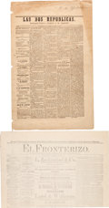 Miscellaneous:Newspaper, Arizona Territory: Two Early Spanish Language Newspapers....(Total: 2 Items)