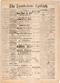 Miscellaneous:Newspaper, The Tombstone Epitaph, June 9, 1881....