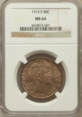 Barber Half Dollars, 1914-S 50C MS64 NGC....
