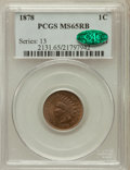 Indian Cents, 1878 1C MS65 Red and Brown PCGS. CAC....
