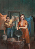 Pulp, Pulp-like, Digests, and Paperback Art, RUDY NAPPI (American, b. 1923). Farmer's Woman, paperback digestcover, 1954. Oil on board. 25.75 x 19 in.. Not signed. ...