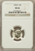 Roosevelt Dimes: , 1958-D 10C MS66 NGC. NGC Census: (532/320). PCGS Population(712/144). Mintage: 136,564,608. Numismedia Wsl. Price for prob...