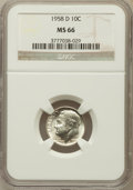 Roosevelt Dimes: , 1958-D 10C MS66 NGC. NGC Census: (532/320). PCGS Population(711/144). Mintage: 136,564,608. Numismedia Wsl. Price for prob...