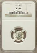 Roosevelt Dimes: , 1957 10C MS66 NGC. NGC Census: (1120/702). PCGS Population(1283/161). Mintage: 160,100,000. Numismedia Wsl. Price for prob...