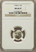 Roosevelt Dimes, 1958-D 10C MS66 Full Torch NGC. NGC Census: (283/160). PCGSPopulation (282/90). Mintage: 136,564,608. Numismedia Wsl. Pric...