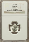 Roosevelt Dimes: , 1957 10C MS66 Full Bands NGC. NGC Census: (27/5). PCGS Population(54/5). Mintage: 160,100,000. Numismedia Wsl. Price for p...