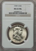 Franklin Half Dollars: , 1949-S 50C MS65 Full Bell Lines NGC. NGC Census: (112/23). PCGSPopulation (504/151). Numismedia Wsl. Price for problem fr...
