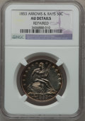 Seated Half Dollars: , 1853 50C Arrows and Rays -- Repaired -- NGC Details. AU. NGCCensus: (55/730). PCGS Population (107/611). Mintage: 3,532,70...