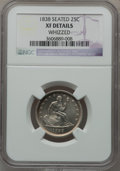 Seated Quarters: , 1838 25C No Drapery -- Whizzed -- NGC Details. XF. NGC Census:(10/141). PCGS Population (25/137). Mintage: 466,000. Numism...