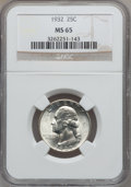 Washington Quarters: , 1932 25C MS65 NGC. NGC Census: (346/92). PCGS Population (527/176).Mintage: 5,404,000. Numismedia Wsl. Price for problem f...