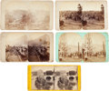 """Photography:Stereo Cards, Oil City, Pennsylvania: Four Early Stereoviews by Frank Robbins, Plus One Civil War Anthony of """"View from the Legendary Canal.... (Total: 5 Items)"""