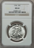 Walking Liberty Half Dollars: , 1936 50C MS64 NGC. NGC Census: (861/1807). PCGS Population(1668/2822). Mintage: 12,617,901. Numismedia Wsl. Price for prob...