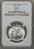 Walking Liberty Half Dollars: , 1941-D 50C MS65 NGC. NGC Census: (2133/1351). PCGS Population(3747/1685). Mintage: 11,248,400. Numismedia Wsl. Price for p...