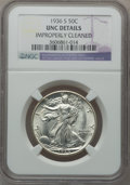 Walking Liberty Half Dollars, 1936-S 50C -- Improperly Cleaned -- NGC Details. UNC. NGC Census:(1/1176). PCGS Population (2/1880). Mintage: 3,884,000. N...