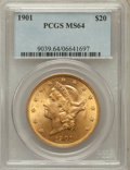 Liberty Double Eagles: , 1901 $20 MS64 PCGS. PCGS Population (1466/300). NGC Census:(1417/297). Mintage: 111,400. Numismedia Wsl. Price for problem...