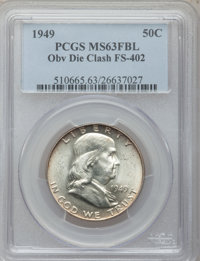 1949 50C Obverse Die Clash, FS-402 MS63 Full Bands PCGS. PCGS Population (4/16). NGC Census: (0/0). From The Parcfeld...