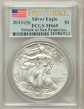 2013-(S) $1 One-Ounce Silver American Eagle, Struck at San Francisco First Strike MS69 PCGS. PCGS Population (18763/1733...