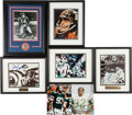 Football Collectibles:Photos, New York Giants and Jets Signed Photographs Lot of 7....