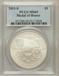 Modern Issues, 2011-S $1 Medal of Honor MS69 PCGS. PCGS Population (486/125). NGCCensus: (246/328). Numismedia Wsl. Price for problem fr...