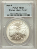 Modern Issues, 2011-S $1 U.S. Army MS69 PCGS. PCGS Population (498/228). NGCCensus: (176/439). Numismedia Wsl. Price for problem free NG...