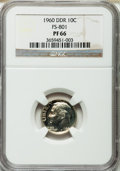 Proof Roosevelt Dimes, 1960 10C Doubled Die Reverse, FS-801 PR66 NGC. PCGS Population(33/6).. From The Parcfeld Collection....