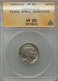 1936-S/S 5C Repunched Mintmark, FS-501 RPM-1 -- Scratched -- ANACS. VF20 Details. PCGS Population (5/45). NGC Census: (0...