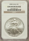 Modern Bullion Coins, 2008 $1 Silver Eagle Gem Uncirculated NGC....
