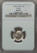 Roosevelt Dimes, 1964-D 10C Doubled Die Reverse, FS-801 AU53 NGC. PCGS Population(1/27).. From The Parcfeld Collection...