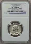 Washington Quarters, 1932 25C Doubled Die Obverse, FS-101 -- Improperly Cleaned -- NGCDetails. AU. PCGS Population (2/18).. ...