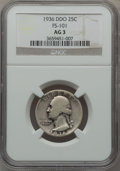 Washington Quarters, 1936 25C Doubled Die Obverse, FS-101 AG3 NGC. . From TheParcfeld Collection....