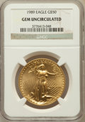 Modern Bullion Coins, 1989 G$50 One-Ounce Gold Eagle Gem Uncirculated NGC. NGC Census:(1/843). PCGS Population (8/737). Mintage: 415,790. Numism...