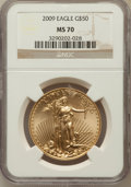 Modern Bullion Coins, 2009 G$50 One-Ounce Gold Eagle MS70 NGC. NGC Census: (0). PCGSPopulation (493). Numismedia Wsl. Price for problem free NG...