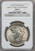 Peace Dollars, 1934-D $1 Vam-3, Large D Doubled Die Obverse Motto MS62 NGC.Top-50. PCGS Population (27/60).. From Th...