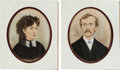 Art, George and Elizabeth Custer: A Fine Pair of Large 19th Century Mixed Media Oil and Watercolor Portraits. ... (Total: 2 Items)