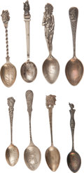 Advertising:Small Novelties, Sterling Silver Souvenir Spoons.... (Total: 8 Items)