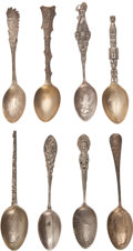 Advertising:Small Novelties, Eight Sterling Silver Souvenir Spoons.... (Total: 8 Items)