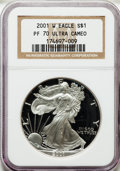 Modern Bullion Coins: , 2001-W $1 Silver Eagle PR70 Ultra Cameo NGC. NGC Census: (3538).PCGS Population (1062). Numismedia Wsl. Price for problem...