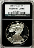 2001-W $1 Silver Eagle PR70 Ultra Cameo NGC. 25th Anniversary Holder. NGC Census: (3538). PCGS Population (1062). Numism...