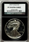 Modern Bullion Coins, 1995-P $1 Silver Eagle PR70 Ultra Cameo NGC. 25th AnniversaryHolder. NGC Census: (857). PCGS Population (558). Numismedia...
