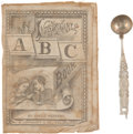 Books:Children's Books, Child's 1879-Dated Cloth ABC Book and Spoon. ... (Total: 2 )