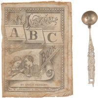Child's 1879-Dated Cloth ABC Book and Spoon