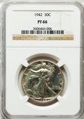 Proof Walking Liberty Half Dollars: , 1942 50C PR66 NGC. NGC Census: (1325/985). PCGS Population(1596/800). Mintage: 21,120. Numismedia Wsl. Price for problem f...
