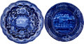 Antiques:Decorative Americana, Historical Blue: Landing of Lafayette and Washington Plates.... (Total: 2 Items)