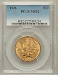 Indian Eagles: , 1926 $10 MS62 PCGS. PCGS Population (12040/14295). NGC Census:(13810/18545). Mintage: 1,014,000. Numismedia Wsl. Price for...