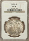 Morgan Dollars: , 1885-O $1 MS66 NGC. NGC Census: (4359/537). PCGS Population(2283/195). Mintage: 9,185,000. Numismedia Wsl. Price for probl...