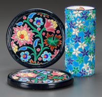 A PAIR OF LONGWY WINE COASTERS AND CYLINDRICAL VASE Early 20th century Marks: DÉCORÉ À LA MAIN, EMA...