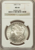 Morgan Dollars: , 1882-S $1 MS66 NGC. NGC Census: (6230/1737). PCGS Population(4456/779). Mintage: 9,250,000. Numismedia Wsl. Price for prob...