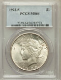Peace Dollars: , 1922-S $1 MS64 PCGS. PCGS Population (1839/308). NGC Census:(1776/278). Mintage: 17,475,000. Numismedia Wsl. Price for pro...