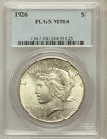 Peace Dollars: , 1926 $1 MS64 PCGS. PCGS Population (3602/1382). NGC Census:(3128/753). Mintage: 1,939,000. Numismedia Wsl. Price for probl...